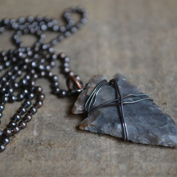 Arrowhead Necklace- Mens Necklace, Chain Necklace, Rustic Necklace for Men, Copper Necklace