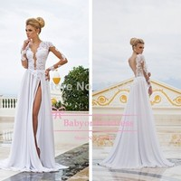Aliexpress.com : Buy Elegant Deep V Neck A Line Lace Evening Dresses White With Long Sleeves and gold belt Formal Dresses 2014 vestidos de fiesta from Reliable lace simple wedding dress suppliers on Suzhou Babyonline Dress Store