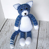 "Big Hand Knitted Blue Tabby Cat - Ready To Ship - Child Toy - Stuffed Animal Soft Toy - Baby Gift Stuffed Cat - Cat Nursery 16 1/2"" Tall"