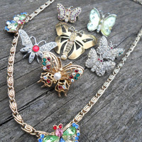 8 Piece Vintage Rhinestone Butterfly Jewelry Destash Lot - Necklace Brooch/Pin