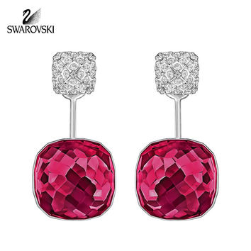 Swarovski Earrings DOT Pierced Earring Jackets Ruby Red Rhodium #5192370