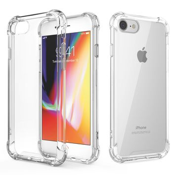 For iPhone 7 Case / iPhone 8 Case, MoKo Crystal Clear Shock Absorption Reinforced Corners TPU Bumper Cushion + Hybrid Rugged Transparent Panel Cover for Apple iPhone 7 / 8 - Crystal Clear