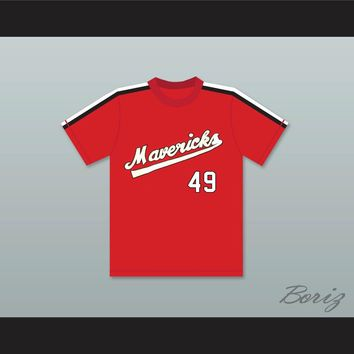 Dick Rusteck 49 Portland Mavericks Red Baseball Jersey The Battered Bastards of Baseball