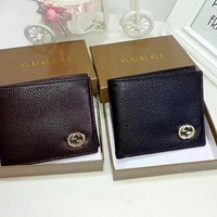 """Gucci"" Men Purse Simple Fashion Classic Metal Double G Letter Short Section Fold Wallet"