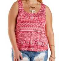 Plus Size Printed High-Low Pocket Tank Top