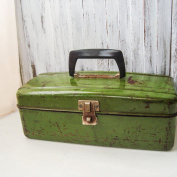 Vintage Green Rustic Tackle Box, Union Tackle Box,  Distressed Fishing Supply Box, Rustic Decor, Photo Prop, Green Metal Supply Box