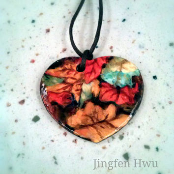 autumn necklace polymer clay pendant handpainted charm handmade ornament