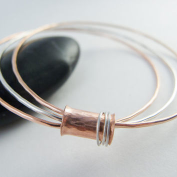 Copper Bangle, Silver, Brass, Mixed Metal Bangle, Stacking Bangle, Spinner Ring, Tube Bead, Hammered, Triple Bangle, Mixed Metal Jewelry
