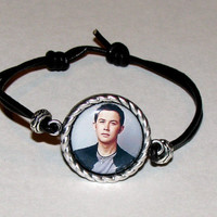 Scotty McCreery (Or Your Favorite Singer, Star, Team) Leather-Adjustable Pendant Photo Bracelet-Made to Order