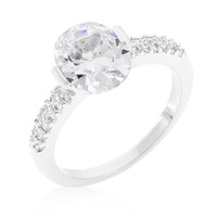 Clear Oval Cubic Zirconia Engagement Ring, size : 08