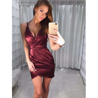 2017 Summer Style Sexy Sling Dress Sleeveless Backless Deep V Bodycon High Waist Mini Women Dresses 4 Colors SLim Vestido