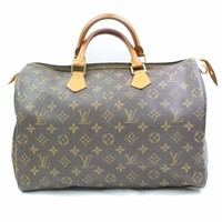 Authentic Louis Vuitton Hand Bag Speedy 35 M41524 Browns Monogram 261100