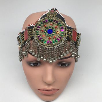 Kuchi Headdress Headpiece Afghan Ethnic Tribal Jingle Alpaca Silver Glass,CK625