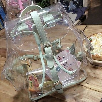 Clear Backpacks popular Fashion Lady Summer New Transparent Shoulder Bags Korean Version Casual Female Bag Clear Individuality Backpacks AT_62_4