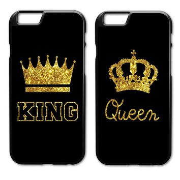 The Couples Lovers Crown KING QUEEN Case for iPhone 4 4S 5 5S 5C SE 6 6S 7 Plus Samsung Galaxy S3 S4 S5 Mini S6 S7 S8 Edge Plus