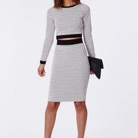 Missguided - Aminah Geo Contrast Knitted Midi Skirt Navy