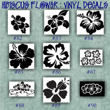 HIBISCUS FLOWER vinyl decals - 82-90 - car window stickers - personalized vinyl sticker - wall decals