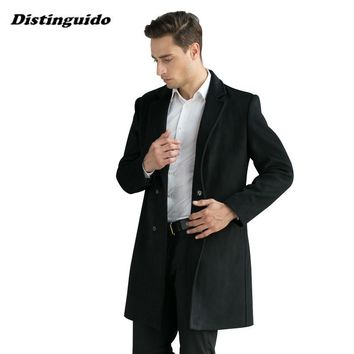 New Man Long Trench Coat Fahion Winter Peacoat Men's Wool Coat Mens Overcoat Men's Coats Male Clothing MJK038