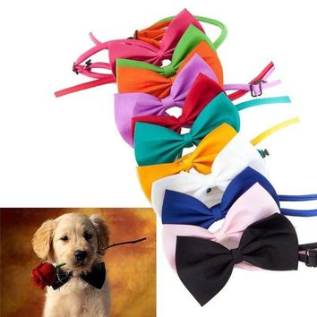 DK7G2 15 Candy colors  Fashion Cute Dog Puppy Cat Kitten Pet Toy Kid Bow Tie Necktie Clothes decoration free shipping