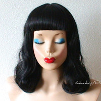Black wig. Short bangs black color wavy hair Pin up.  Lolita Gothic. Shoulder length curly hair wig.