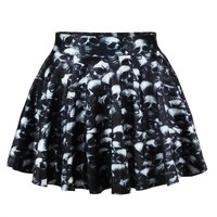 Women Pleated Skirt 3D Skull Skeleton Printed Skater Skirt Mini Short Punk