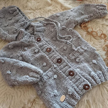 Popcorn sweater set, baby boy sweater, newborn set, newborn outfit, baby boy hat, popcorn bonnet, baby boy gift set,