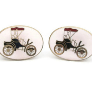 Vintage Antique Automobile Cufflinks Cuff Links - Mens Accessories for Him Gift for Vintage Car Buff - Oval White Black Red and Gold Enamel