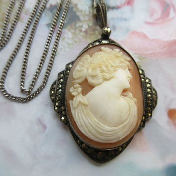 Vintage 20s 30s Sterling Germany Marcasite Shell Cameo Necklace