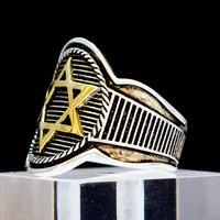 18K Gold David Star Sterling Silver Ring King Solomon Hexagram Illuminati Masonic Art