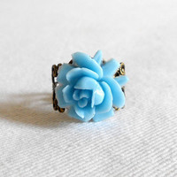 Sale - Dainty Rose Vintage Filigree Adjustable Ring - Sky Blue Lucite Flower in Victorian Inspired Antique Brass