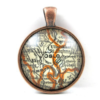 Oslo, Norway, Pendant from Vintage Map, in Glass Tile Circle