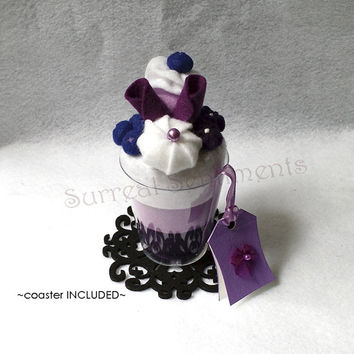 Blueberry Cream Parfait felt cup, mini Gift Card & Box. Unique Birthday Day Card Gift, Mothers Gift, Niece Gift, Faux Dessert, Sister Gift,