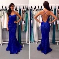 Straps Blue Lace Mermaid Prom Dresses