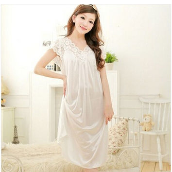 Free shipping women White lace sexy nightdress girls plus size Large size Sleepwear nightgownY02-1