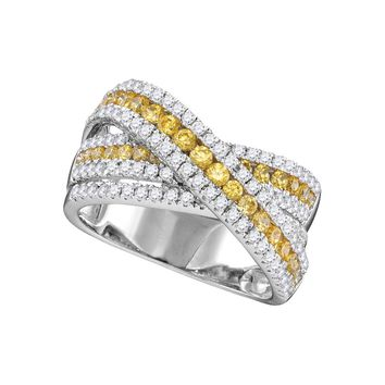 14kt White Gold Womens Round Canary Yellow Diamond Crossover Fashion Band Ring 1-3/8 Cttw