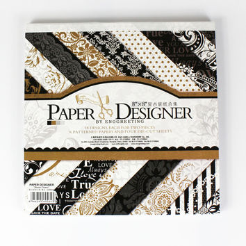 NEW 8''classic black theme elegant scrapbooking paper set 40sheets 18patterns background paper pad 4 pattern die-cut paper