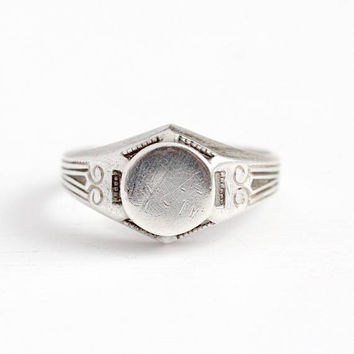 Vintage Signet Ring - Art Deco Sterling Silver Blank 30s Round Signet - Men's 1930s Size 10 Personalize Initial Gift for Him Jewelry
