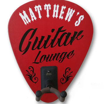 Personalized Guitar Lounge Guitar Holder Sign