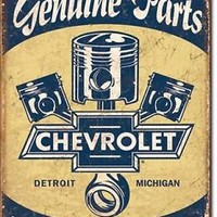 CHEVROLET PISTONS Metal TIN SIGN Vintage Style Wall Decor HOT ROD SHOP Chevy