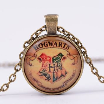 Top Movies Harry Potter Magic Academy Badge Retro Time stone Necklace Alloy Glass Necklace G71