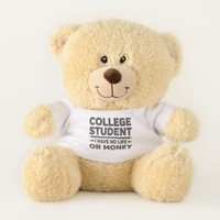 College Student I Have No Life or Money Teddy Bear