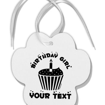 Personalized Birthday Girl Cupcake -Customizable- Name Paw Print Shaped Ornament