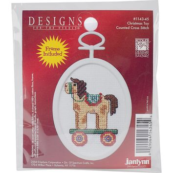 """Christmas Toy Mini Counted Cross Stitch Kit 2.75"""" Oval 18 Count"""