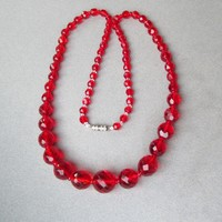 1920's Vintage Cherry Red Czech Graduated Crystal Bead Flapper Necklace