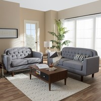 Baxton Studio Delphinia Mid-Century Modern Fabric Upholstered Walnut Wood Button-Tufted 2-Piece Living Room Sofa Set | Overstock.com Shopping - The Best Deals on Living Room Sets