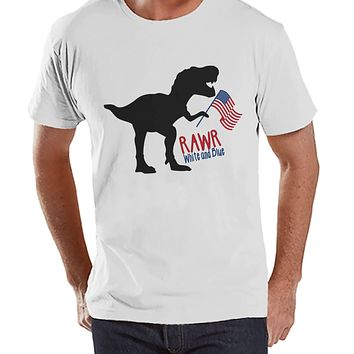 Men's 4th of July Shirt - Patriotic Dinosaur White T-shirt - Funny Dino 4th of July Party Shirt - Patriotic Independence Day Men's Shirt