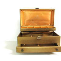 vintage large gold Lady Buxton jewelry box w drawer