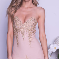 NIKA DRESS IN NUDE WITH GOLD