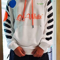 NIKE X Off White Fashion Men Women Casual Print Long Sleeve Hoodie Sweater Top Sweatshirt White
