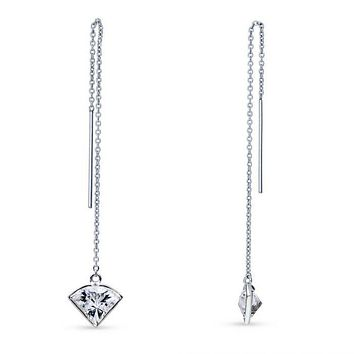 Sterling Silver Trillion Cut Swarovski Zirconia Threader Earrings